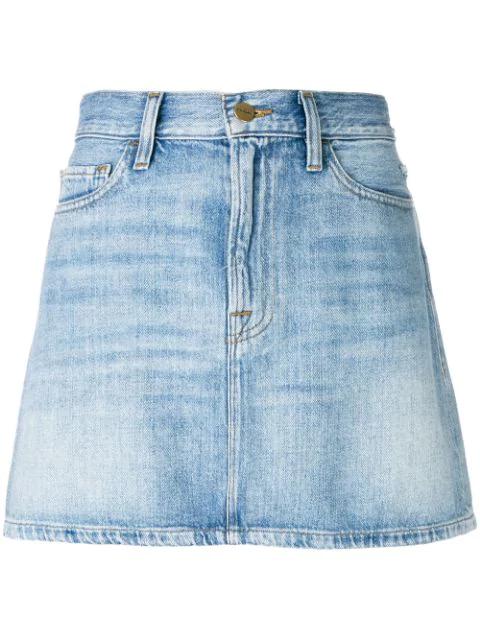 Frame Le Mini Stud-Embellished Denim Skirt In Ryde
