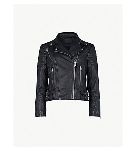 Allsaints Papin Leather Biker Jacket In Black