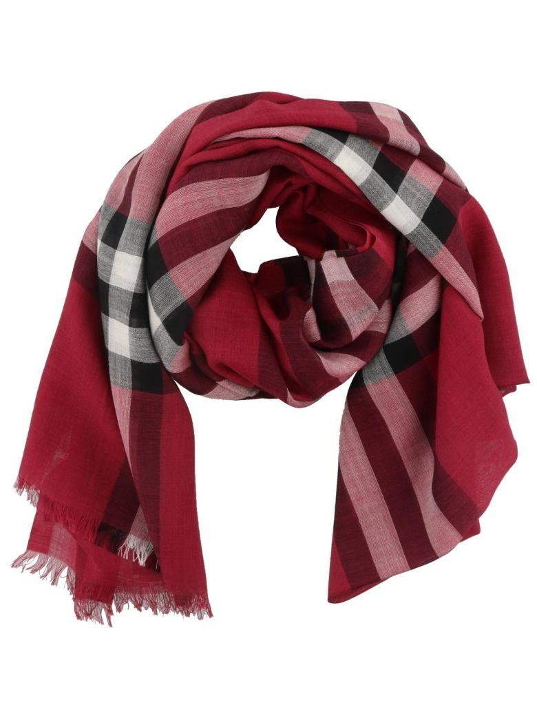 Burberry Striped Scarf In Fuchsia Pink