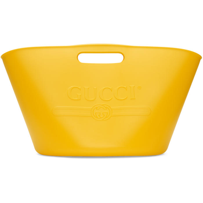803cd31388e7 Gucci Logo Embossed Rubber Tote Bag In Yellow Rubber | ModeSens