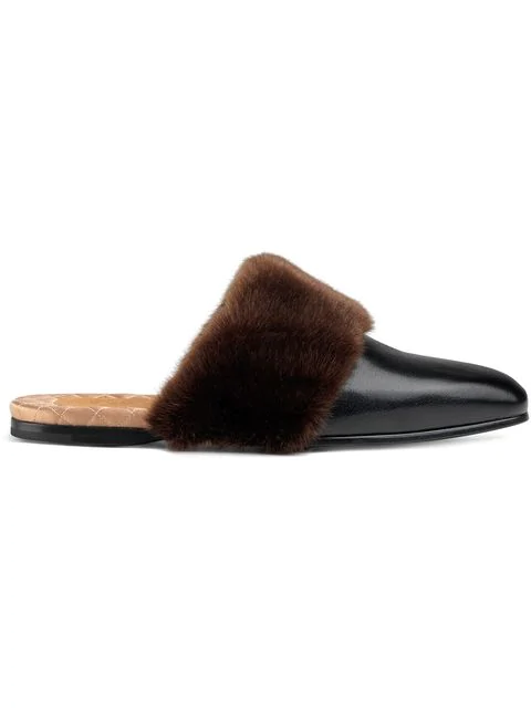 Gucci Leather And Faux Fur Slipper In Black