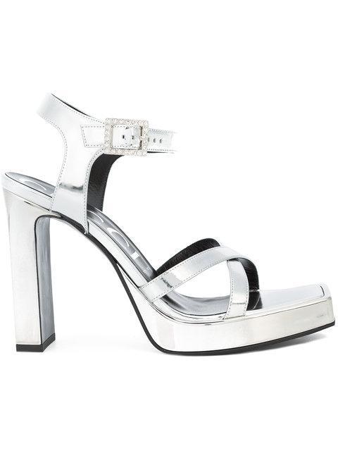 7ec91685e58 Gucci Metallic Leather Platform Sandal
