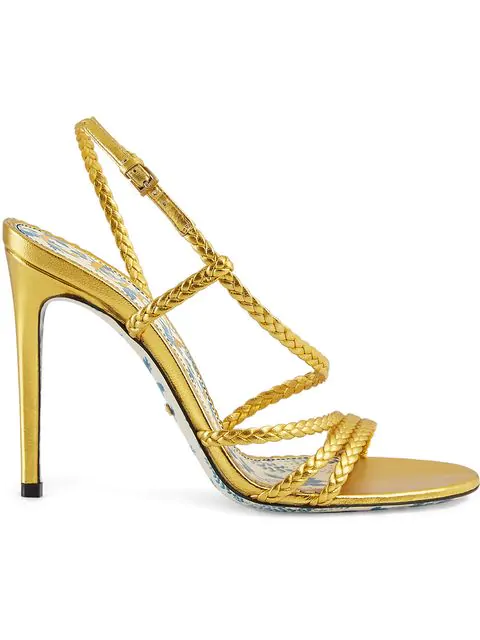 Gucci Braided Metallic Leather Slingback Sandals
