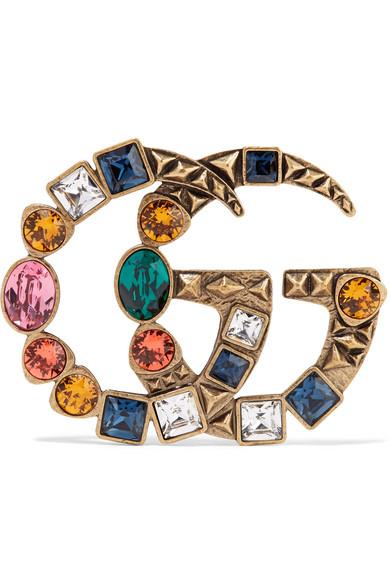 7e3c9b4753f Gucci Multicoloured Double Gg Crystal Brooch In Gold