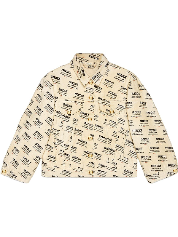 6ac3d749 Gucci Logo Stamp Print Denim Jacket In White In 9283 Ivory | ModeSens