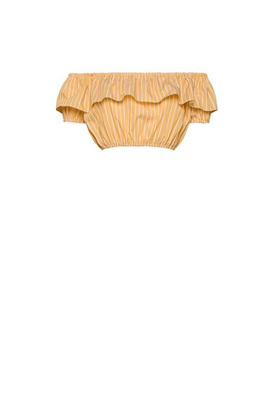 Miu Miu Striped Cotton Top With Ruffles In Yellow