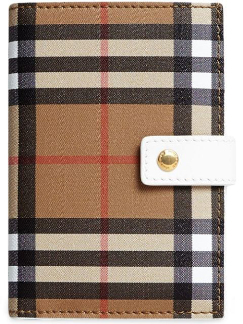 Burberry Vintage Check And Leather Folding Wallet In Neutrals