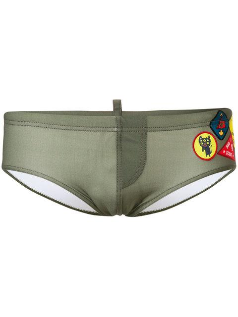 Dsquared2 Patch Swim Shorts In Green