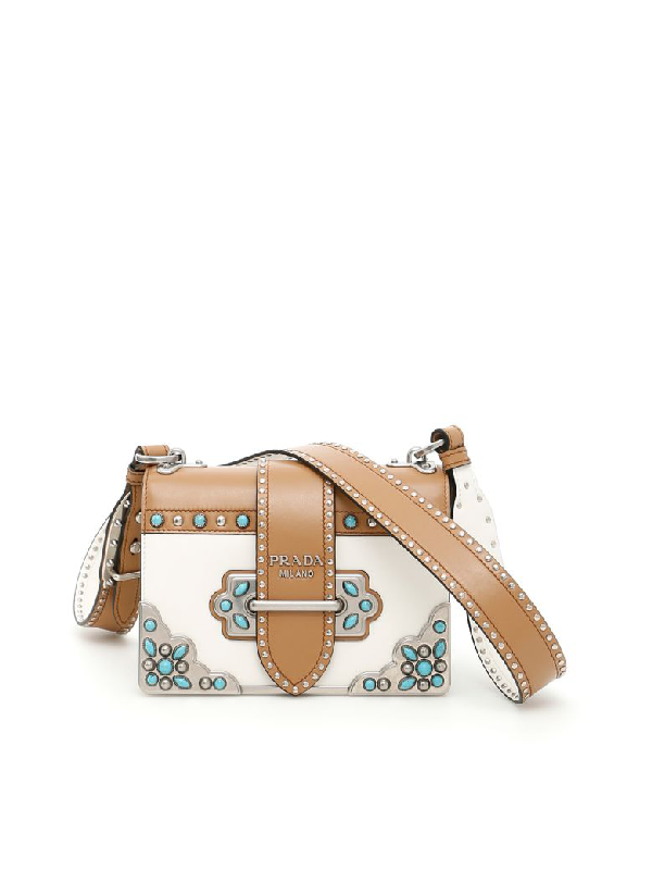 1451186bffd1 Prada Cahier Embellished Two-Tone Leather Shoulder Bag In Tan