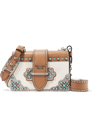 a3f728f03a77 Prada Cahier Embellished Two-Tone Leather Shoulder Bag In Tan   ModeSens