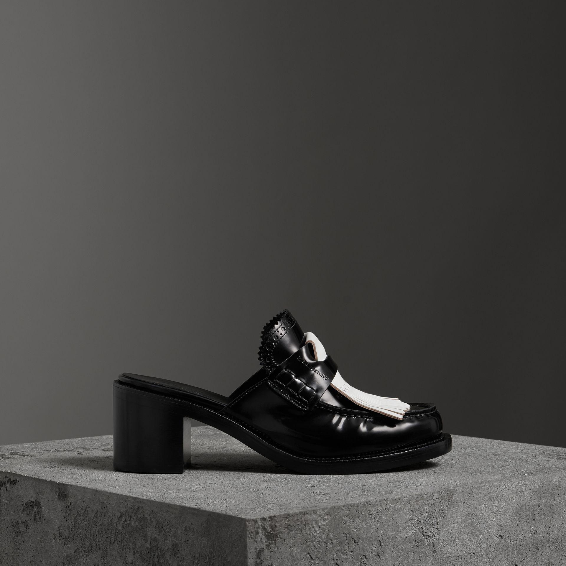 Burberry Contrast Kiltie Fringe Leather Block-heel Mules In Black