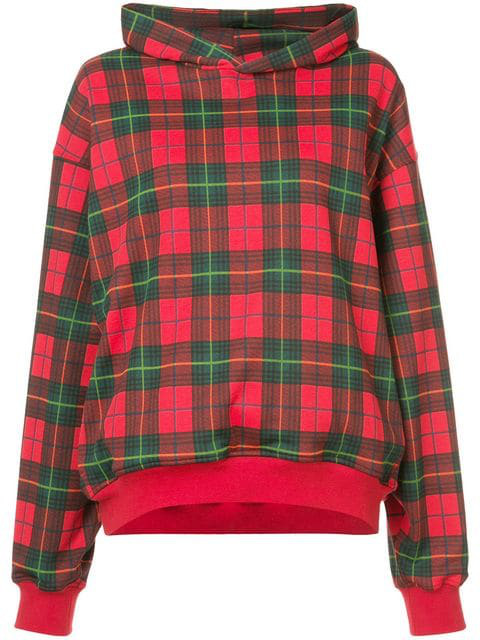 Fear Of God Oversized Black Watch Checked Loopback Cotton-Jersey Hoodie In Red