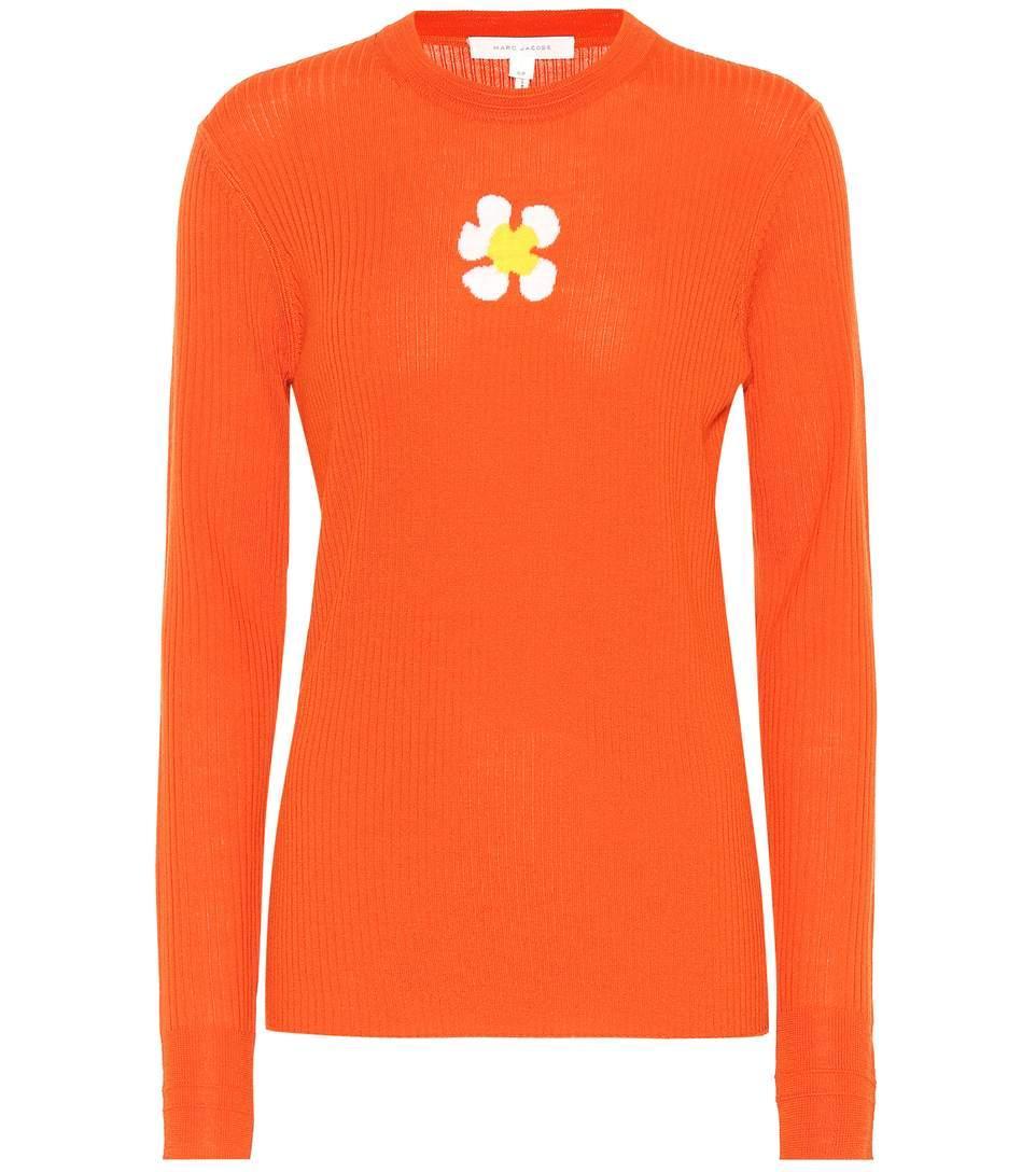 Marc Jacobs Wool Daisy Sweater In Orange