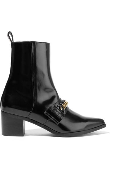 0fe2d5c3f2a Chain-Embellished Faux Patent-Leather Ankle Boots in Llack