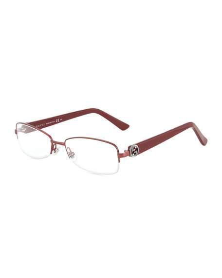 6e208064ce1 Gucci Rectangular Semi-Rimless Optical Glasses In Bordopear