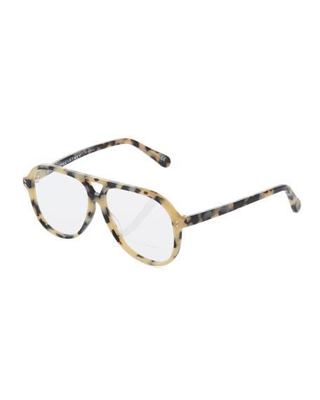 147b31b428e10 Stella Mccartney Aviator Tortoise Acetate Optical Glasses In Brown Pattern