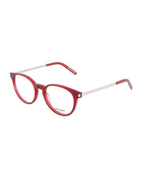 Saint Laurent Round Acetate Optical Glasses In Multi