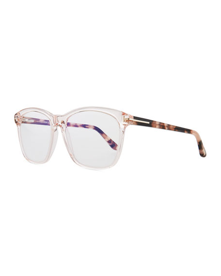 addec9b9c1a1e Tom Ford Blue Block Two-Tone Transparent Acetate Square Optical Frames In Shiny  Pink