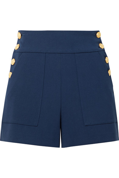 Alice And Olivia Donald High-waist Side-button Woven Shorts In Blue
