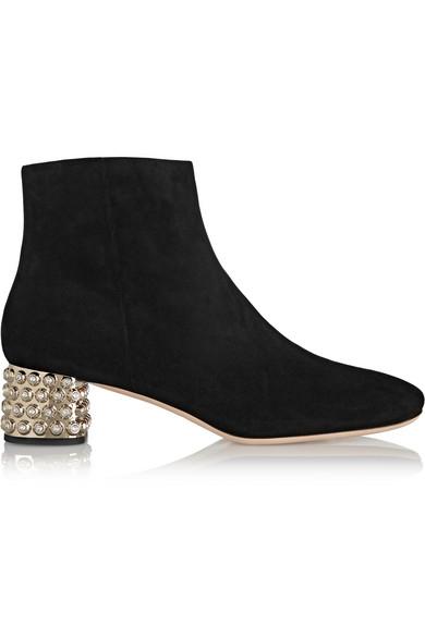 Miu Miu Crystal-Embellished Suede Ankle Boots In Black