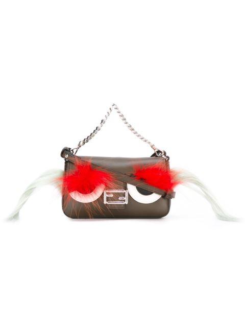 Fendi Black/fuchsia/yellow Micro Baguette Sad Eyes Nappa Leather Top Handle Bag In Brown