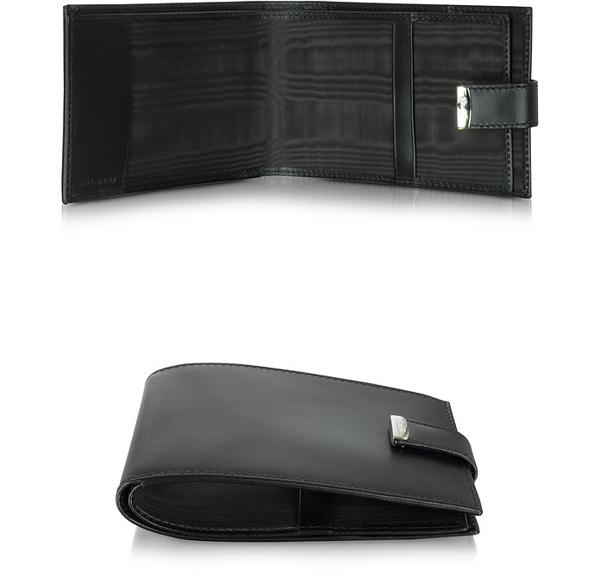 Pineider 1949 Black Leather Men's Chequebook Holder