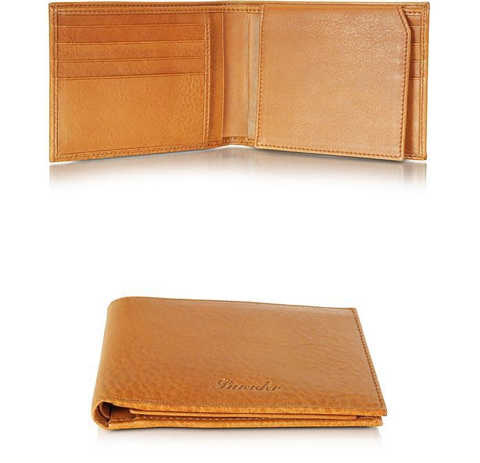 Pineider Country Cognac Leather Billfold Wallet W/flap
