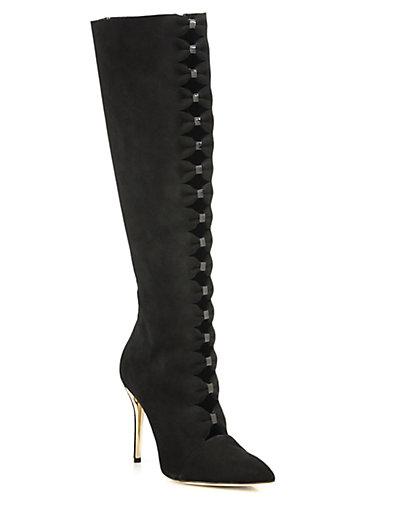 Oscar De La Renta Thorna Bow Cutout Suede Knee Boots In Black