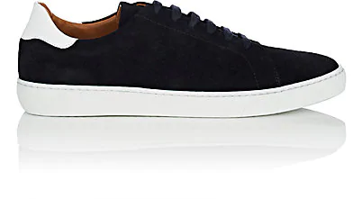 Barneys New York Leather-Trimmed Suede Sneakers In Navy