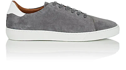 Barneys New York Leather-Trimmed Suede Sneakers In Dark Gray