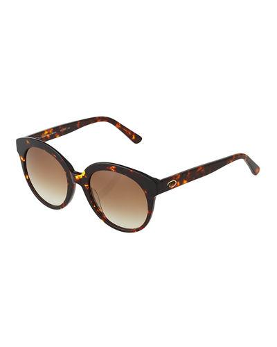 O By Oscar De La Renta Oversized Glam Round Plastic Sunglasses In Brown