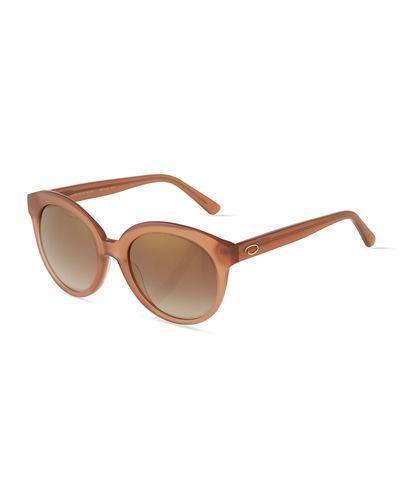 O By Oscar De La Renta Oversized Glam Round Plastic Sunglasses In Blush