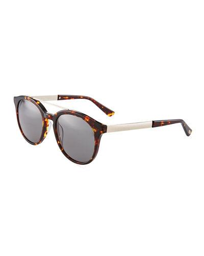 446ae9de83948 O By Oscar De La Renta Duo-Tone Modified Retro Aviator Sunglasses In Brown  Pattern