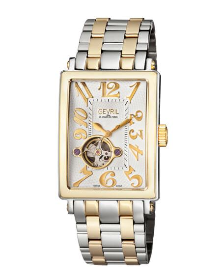 Gevril Avenue Of Americas Intravedre Automatic Two-Tone Bracelet Watch In White