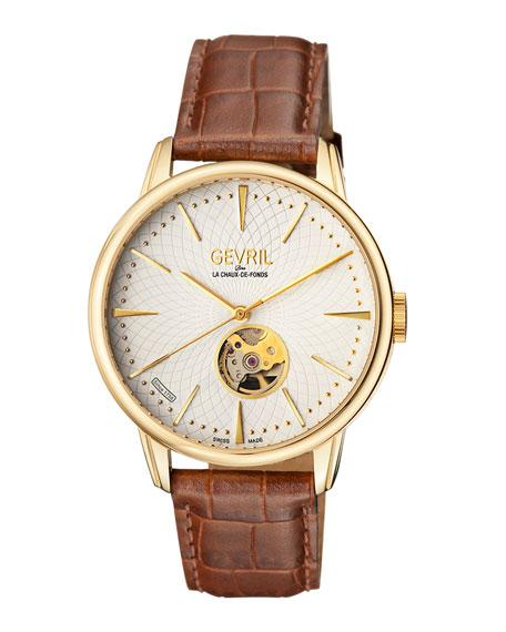 Gevril Men's Automatic Mulberry Brown Leather Strap Watch