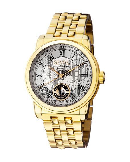 Gevril Men's Automatic Washington Gold Tone Stainless Steel Bracelet Watch