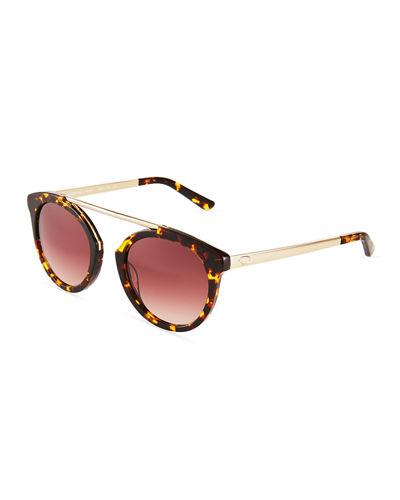 O By Oscar De La Renta Plastic Round Aviator Sunglasses In Black/Gold