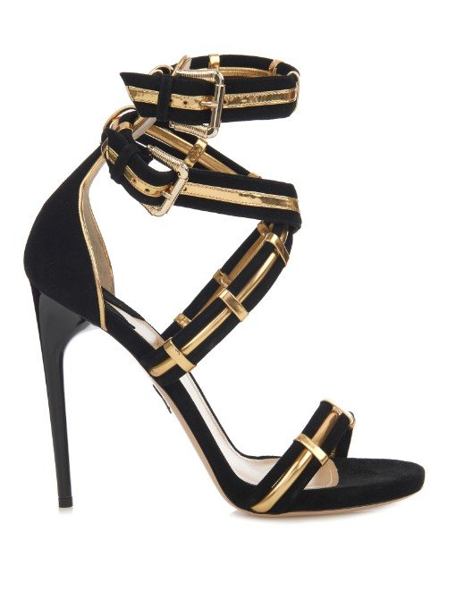 Paul Andrew Katerini Suede And Leather Sandals In Black