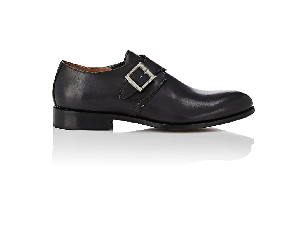 Barneys New York Burnished Leather Monk-Strap Shoes In Black