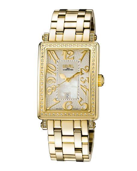Gevril Swiss Quartz Mezzo Gold Tone Diamond Stainless Steel Bracelet Watch