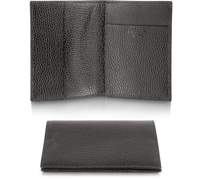 Pineider Country - Genuine Leather Passport Holder In Dark Brown