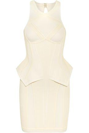 Hervé Léger By Max Azria Textured Knitted Bandage Mini Dress In White