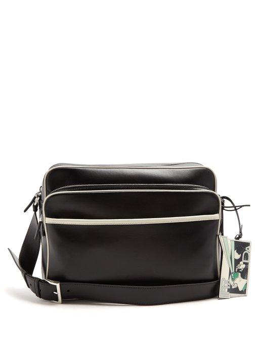 54a3c0f44fb67d Prada Contrast-Piping Leather Messenger Bag In Black Multi | ModeSens