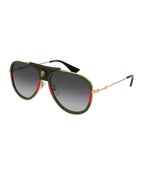 61b7c9a9e Gucci Web Block 57Mm Leather Aviator Sunglasses - Gold/ Black | ModeSens