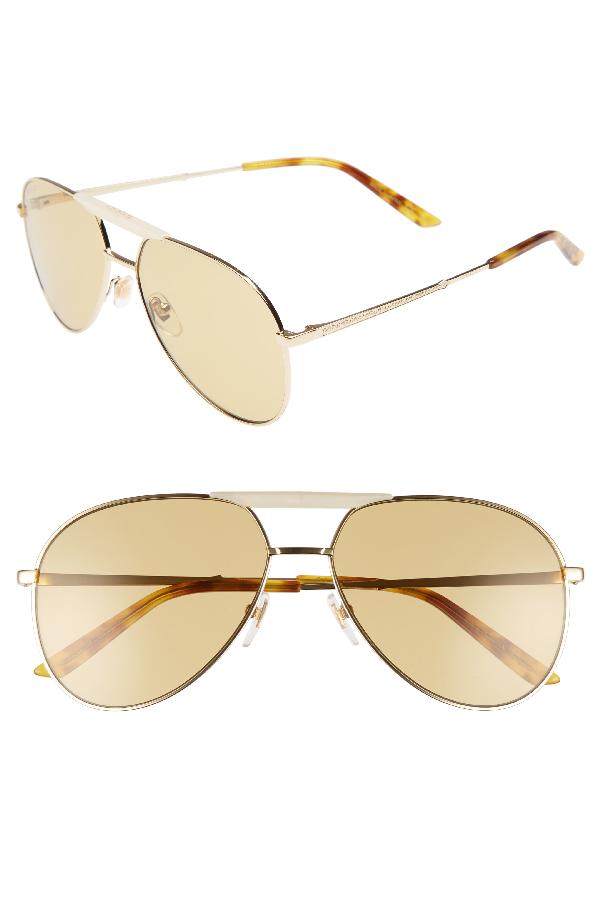 c8df6e0962 Gucci Cruise 59Mm Aviator Sunglasses - Gold  Honey Havana