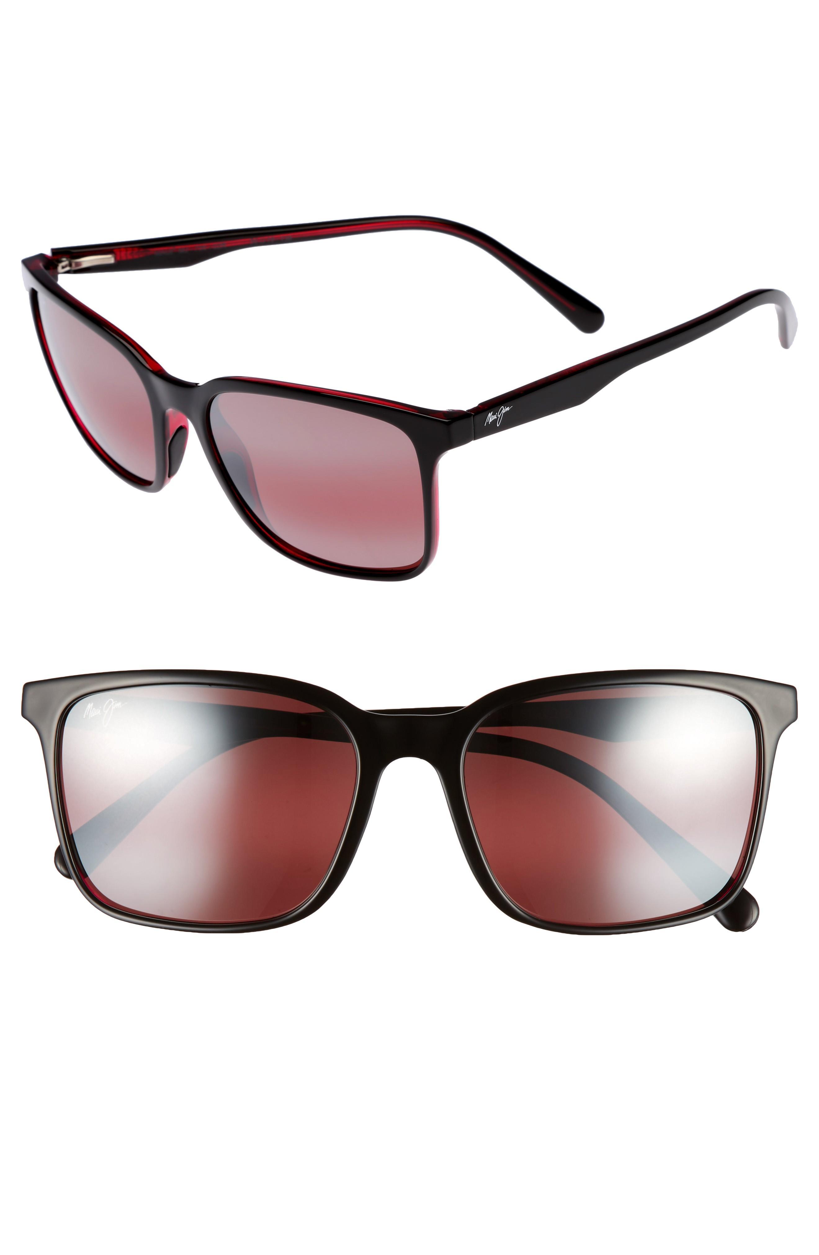 a7929d18311c Maui Jim Wild Coast 56Mm Polarized Sunglasses - Black With Red/ Maui Rose
