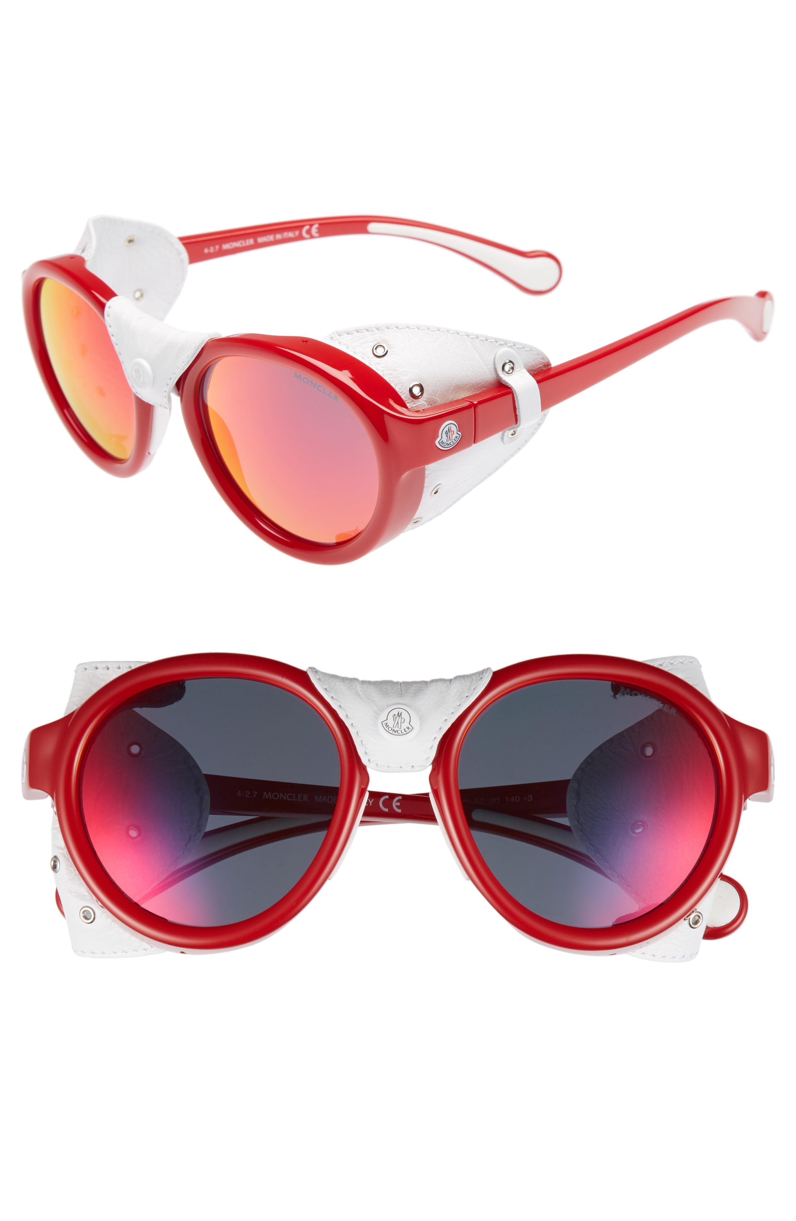 0ec6798ec 52Mm Round Frame Retro Sunglasses - Shiny Red