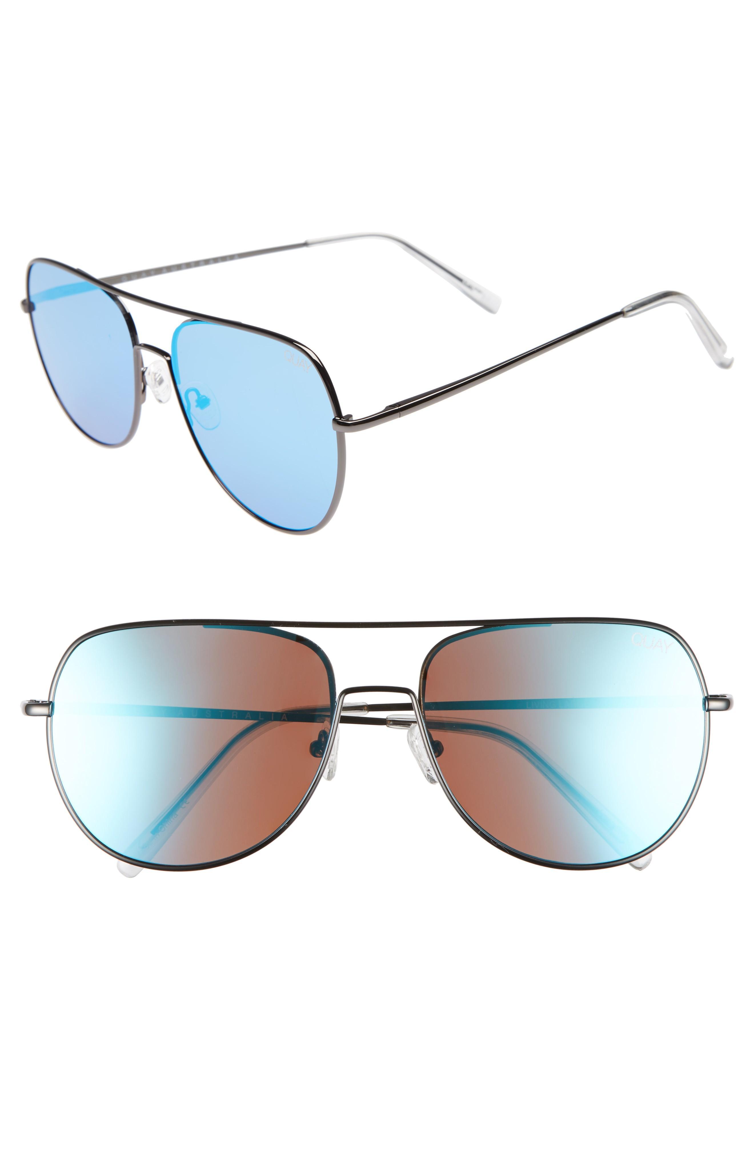 03d7f43943 Quay Living Large 58Mm Aviator Sunglasses - Dark Grey Blue