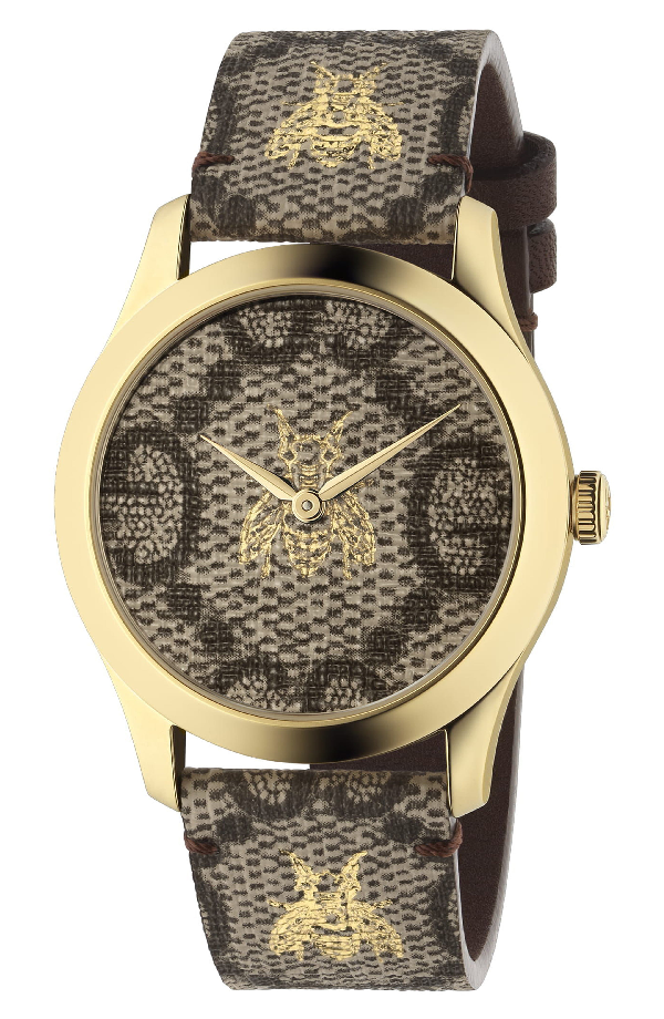 Gucci G-Timeless Canvas Strap Watch, 37Mm In Brown/ Gold