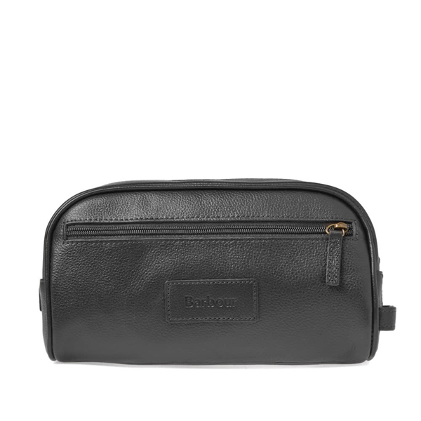 Barbour Leather Travel Kit In Black